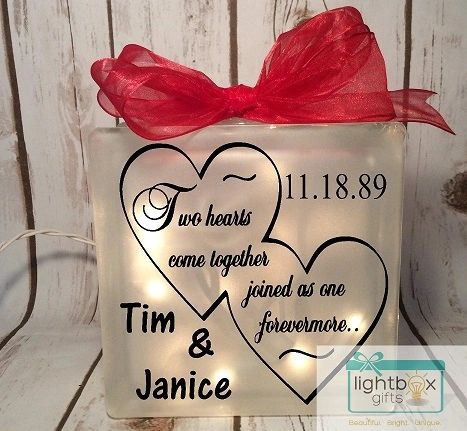 Lighted glass block two hearts come together joined as one forevermore, wedding gift, bride, anniversary, gift for couple