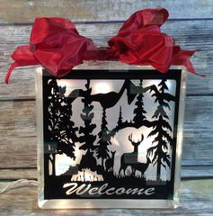 Deer woodland mountain welcome etched glass LightBox