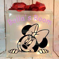 Minnie Mouse peeking personalized LightBox
