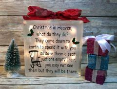 Christmas in Heaven Empty Chair etched glass LightBox