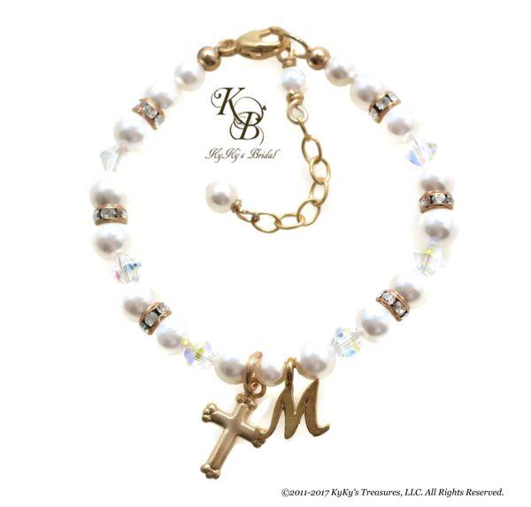 Gold Baptism Bracelet 14k Gold Filled Baby Bracelet Personalized Baptism Gift Christening Gifts Swarovski Pearl Baby Bracelet Baby Shower