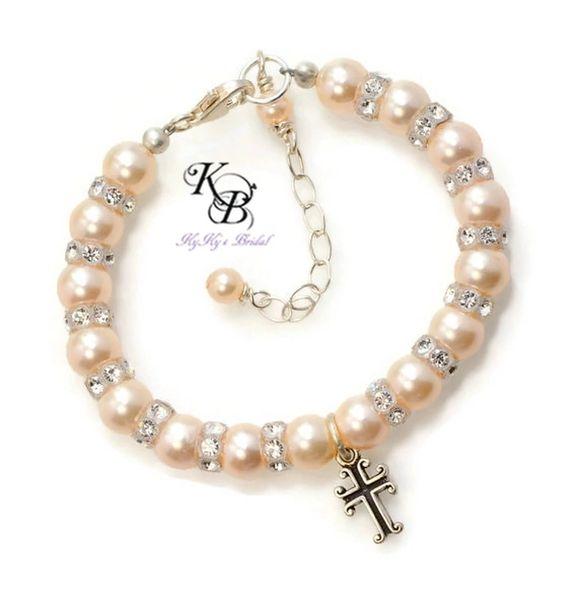 Baptism Bracelet, Swarovski Pearl, Baptism Gift, Christening Bracelet, Christening Gift, First Communion Gift, Baptism Cross, Cross Charm