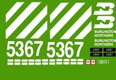 BURLINGTON NORTHERN RR DIESEL LOCO G-CAL DECAL SET FOR U25B ARISTO CRAP.