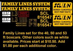 FAMILY LINES 50 FT BOXCAR G-CAL DECAL SET
