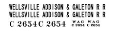 WELLSVILLE ADDISON AND GALETON CABOOSE-2 G-CAL DECAL SET