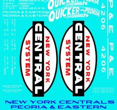 PEORIA AND EASTERN RR A NYC FAMILY ROAD 50 FT STEEL BOXCAR G-CAL DECAL SET