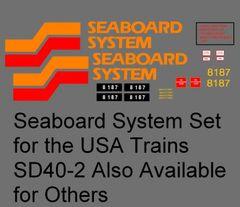 SEABOARD SYSTEM DIESEL LOCOMOTIVE G-CAL DECAL SET.