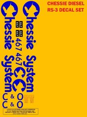 RS-3 OR GP SERIES CHESSIE LOCOMOTIVE G-CAL DECAL SET