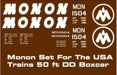 MONON RR 50 FT G-CAL DECAL SET FOR USA TRAINS DD BOXCAR.