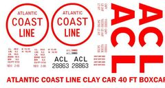 ATLANTIC COAST LINE CLAY CAR G-CAL DECAL SET