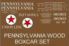 PENNSYLVANIA RR WOOD BOXCAR G-CAL DECAL SET.