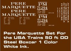 PERE MARQUETTE 50 FT STEEL DD BOXCAR G-CAL DECAL SET.