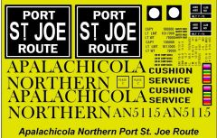 APALACHICOLA NORTHERN PORT ST. JOE ROUTE. G-CAL DECAL SET. 50 FT STEEL BOXCAR DECAL SET BLACK INK