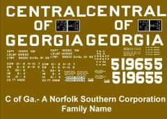 CENTRAL OF GEORGIA -SOUTHERN 40 FT BOXCAR G SCALE DECAL SET