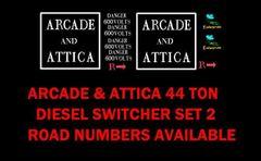 ARCADE AND ATTICA 44 TON LOCO G-CAL DECAL SET.