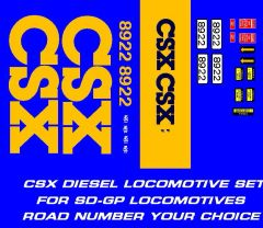 CSX DIESEL LOCOMOTIVE G-CAL DECAL SET