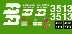 BURLINGTON NORTHERN G-CAL DECAL SET FOR THE ARISTO CRAFT SD45 DIESEL LOCOMOTIVE.