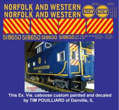 NORFOLK AND WESTERN EXTENDED VISION CABOOSE G-CAL DECAL SET.