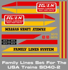 FAMILY LINES SD OR GP SERIES LOCOMOTIVE G-CAL DECAL SET
