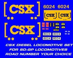 "CSX ""HOW TOMORROW MOVES"" DIESEL LOCOMOTIVE G-CAL DECAL SET."