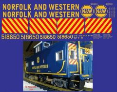 NORFOLK AND WESTERN OFFSET CUPOLA CABOOSE HO DECAL SET