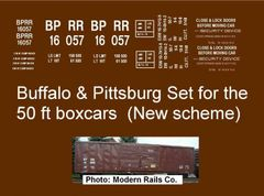 BUFFALO AND PITTSBURG R.R. N-SCALE DECAL SET. 50 FT D.D. BOXCAR.