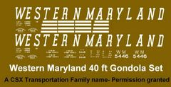WESTERN MARYLAND G-CAL DECAL SET FOR THE ARISTO CRAP 40 FT GONDOLA.