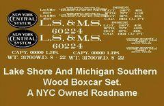 LAKE SHORE AND MICHIGAN SOUTHERN RR WOOD BOXCAR G-CAL DECAL SET