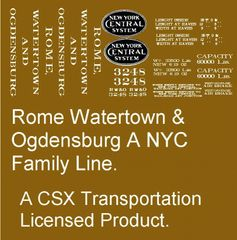 ROME, WATERTOWN AND OGDENSBURG NYC FAMILY WOOD BOXCAR G-CAL DECAL SET.