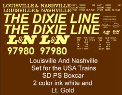 "LOUISVILLE & NASHVILLE ""DIXIE LINE"" 50 FT SD BOXCAR G-CAL DECAL SET."