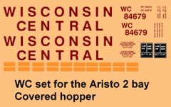 WISCONSIN CENTRAL 2 BAY COVERED ARISTO CRAP HOPPER. G-CAL DECAL SET.