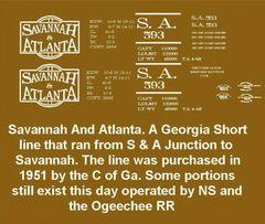 SAVANNAH AND ATLANTA RR 40 FT STEEL BOXCAR G-CAL DECAL SET.