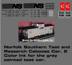 NORFOLK SOUTHERN GRAY CABOOSE G-CAL DECAL SET. TEST AND RESEARCH CABOOSE CAR.