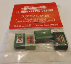 JL INNOVATIVE DESIGN #825, HO SCALE FREIGHT CAR CRATES FOR AUTO PARTS.