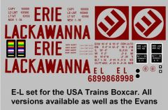 ERIE LACKAWANNA RR G-CAL DECAL SET FOR USA TRAINS 50 FT BOXCAR.