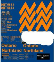 ONTARIO NORTHERN 50 FT STEEL BOXCAR G-CAL DECAL SET.