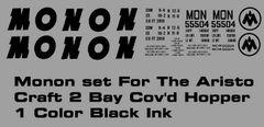 MONON G-CAL DECAL SET FOR THE ARISTO 2 BAY COVERED HOPPER CAR