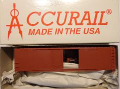 ACCURAIL 5300 HO SCALE 50 FT STEEL COMBO DOOR BOXCAR, OXIDE RED, UNDECORATED