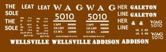 WAG-WELLSVILLE, ADDISON AND GALETON RR STL. 40 FT BOXCAR G-CAL DECAL SET.