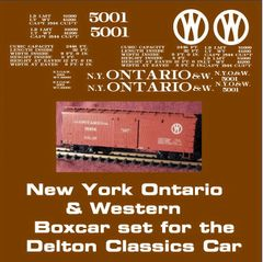 NEW YORK ONTARIO AND WESTERN RR WOOD BOXCAR G-CAL DECAL SET.