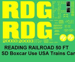 READING 50 FT DF BOXCAR G-CAL DECAL SET.