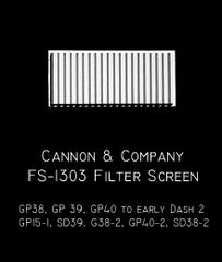 CANNON & CO #1303 EMD GP/SD38 TO EARLY DASH 2 INERTIAL FILTER SCREEN