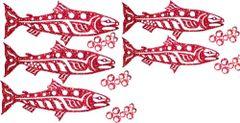 Mini Salmon Group Lasercut Applique
