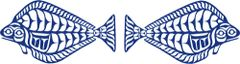 Halibut Pair, Blue Batik Lasercut Applique