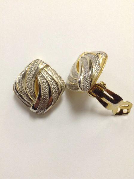 Silvertone and Goldtone Swirl Clip on Earrings