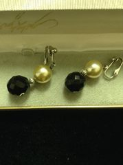 Faux Pearl and Black Beaded Dangle Clip on Earrings
