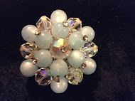 Bead Cluster Brooch w/a Powder Blue & Clear Rhinestone Assortment