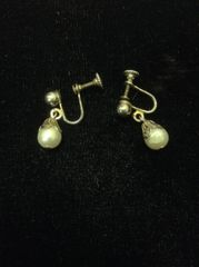 Faux Pearl Dangle Screwback Earrings