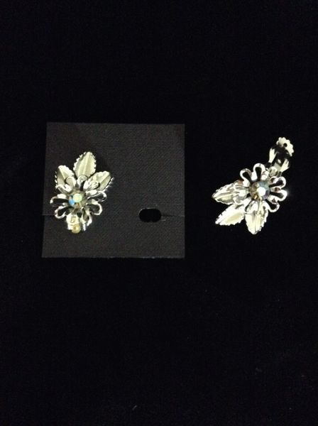 Rhinestone Silver Flower Clip on Earring