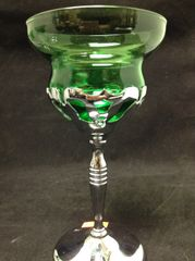 Farberware Green Glass Cordial Goblet with Silver Chrome Stem